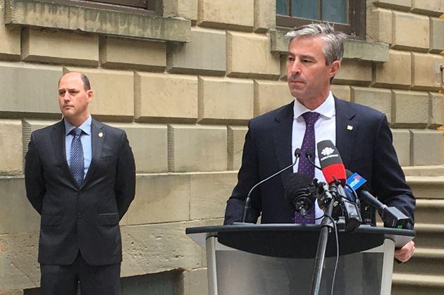 Nova Scotia Progressive Conservative Leader Tim Houston takes questions from reporters on June 24,