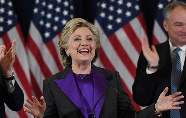 敗北宣言をするヒラリー・クリントン氏(2016年11月9日)