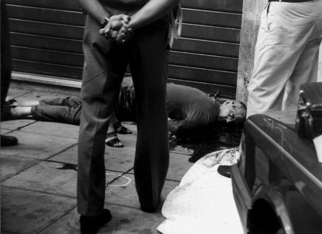 (DOUBLE RATES APPLY) Italian businessman Libero Grassi's body lying dead. Grassi was killed by the Mafia...