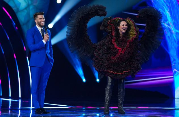 Martine McCutcheon after being revealed as Swan on The Masked