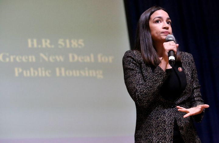 Rep. Alexandria Ocasio-Cortez (D-N.Y.) speaks to residents in Queens about her bill to invest in greening the city's public h