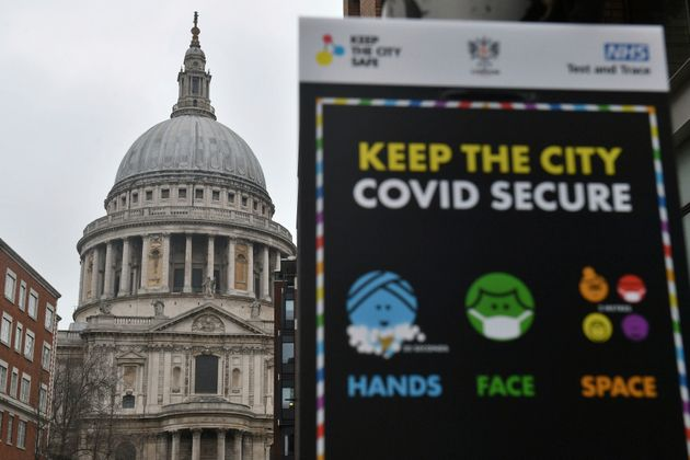 Covid-19 signage in front of St Paul's Cathedral, after Mayor of London Sadiq Khan declared a