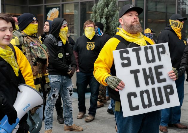 Members of the Proud Boys protest during a rally on Jan. 6, 2021, at the Ohio Statehouse in Columbus,