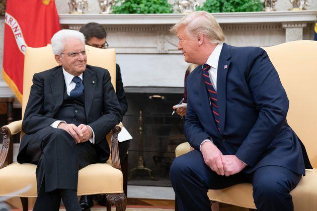 16/10/2019 Washington, il presidente della Repubblica Sergio Mattarella alla Casa Bianca, con il Presidente...
