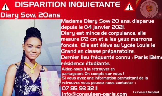 Le Consulat du Sénégal, dont elle est originaire, a lancé un appel à témoins...