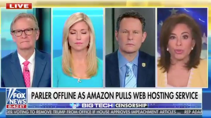 "On ""Fox & Friends,"" Jeanine Pirro compared Parler being dropped by Apple, Amazon and Google to the infam"