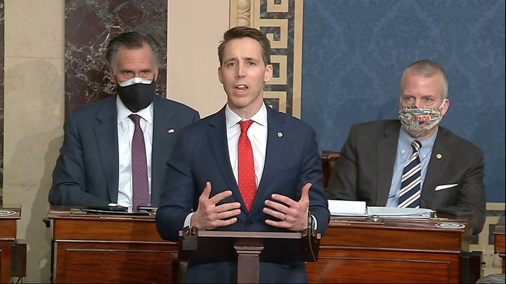 Sen. Josh Hawley (R-Mo.) objects to the certification of Joe Biden's electors after the Capitol was sacked by rioters whom he