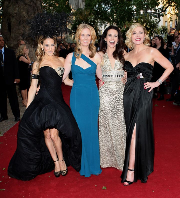 "Sarah Jessica Parker, Cynthia Nixon, Kristin Davis and Kim Cattrall at the UK premiere of ""Sex And The City 2"" on May 27, 2010."