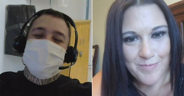 Christopher Yetman and Krystle Lapointe during a video call last year. Yetman is serving a three-year...