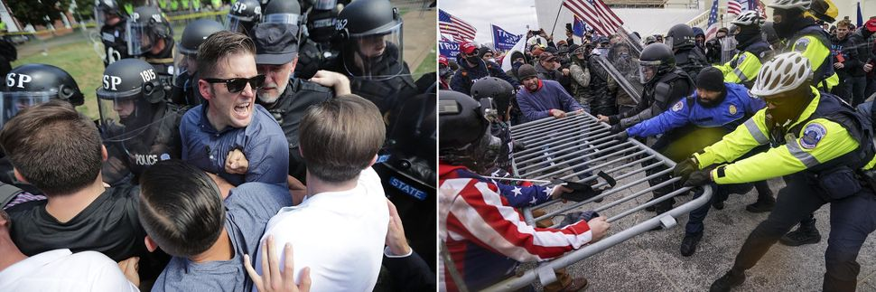 "Left: White nationalist Richard Spencer and his supporters push police at the deadly ""Unite the Right"" rally in 2017 in Charl"