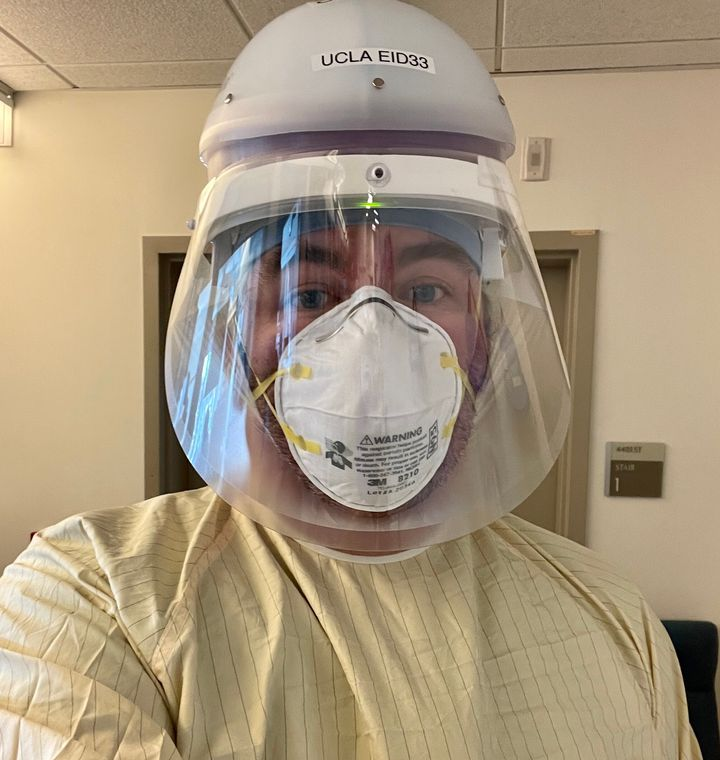 Russell Buhr, an ICU doctor in Los Angeles, in his pandemic work attire.