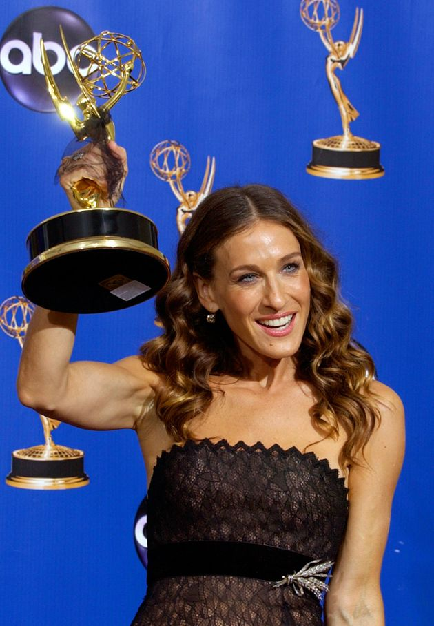Sara Jessica Parker poses with her Emmy trophy for outstanding lead actress in comedy series for her...