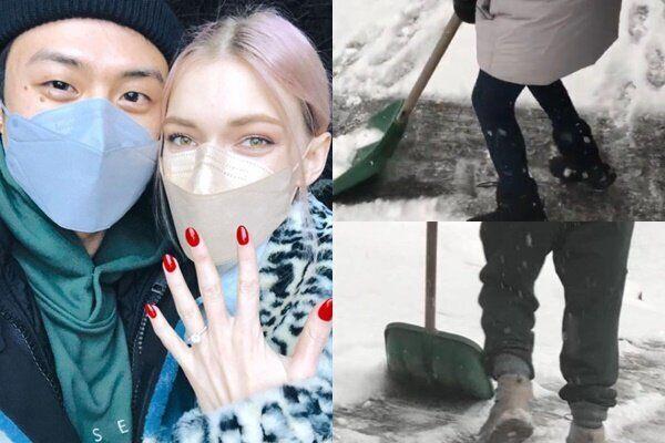 '눈이 펑펑' 서울 대설주의보에 제설작업 나선 빈지노와