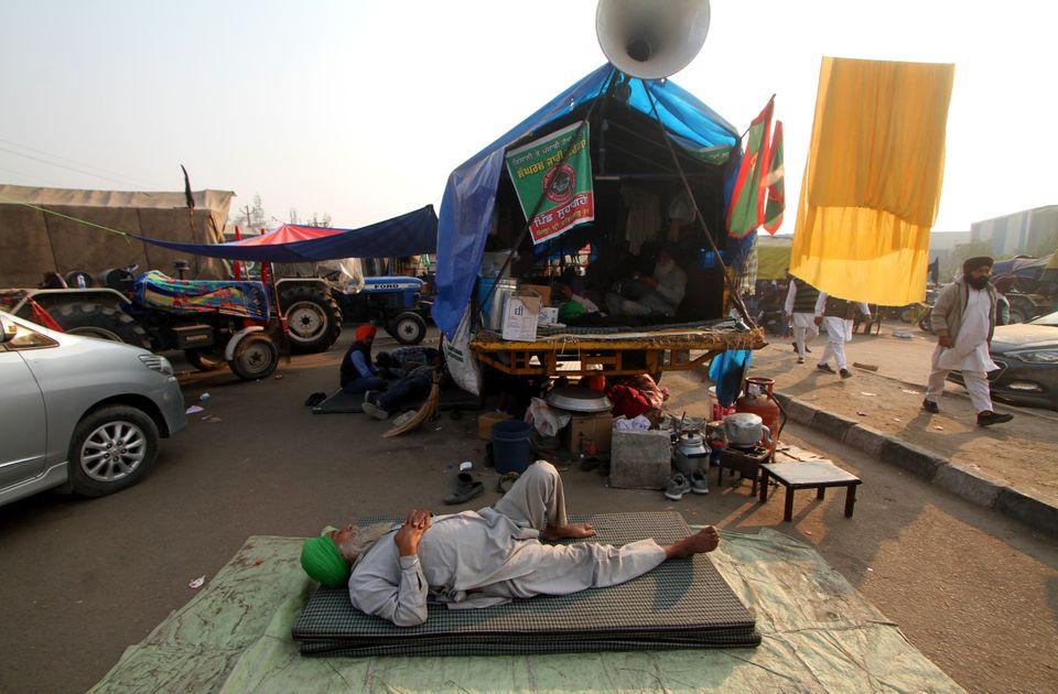 12/12/2020 Nuova Delhi, continuano le proteste dei contadini provenienti dal Punjab contro la riforma...