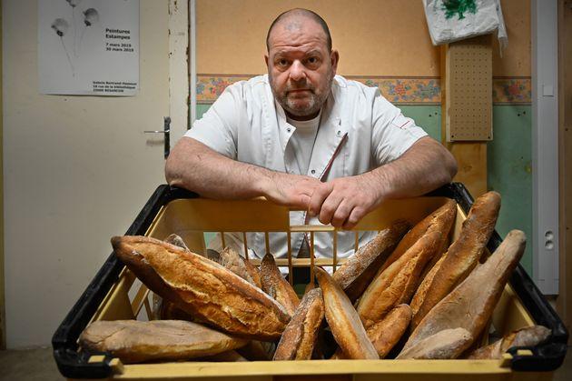 Stéphane Ravacley, ici photographié dans sa boulangerie de Besançon le 6 janvier,...