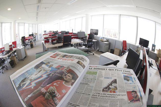 La rédaction du journal l'Équipe le 9 juin 2015 à Boulogne-Billancourt
