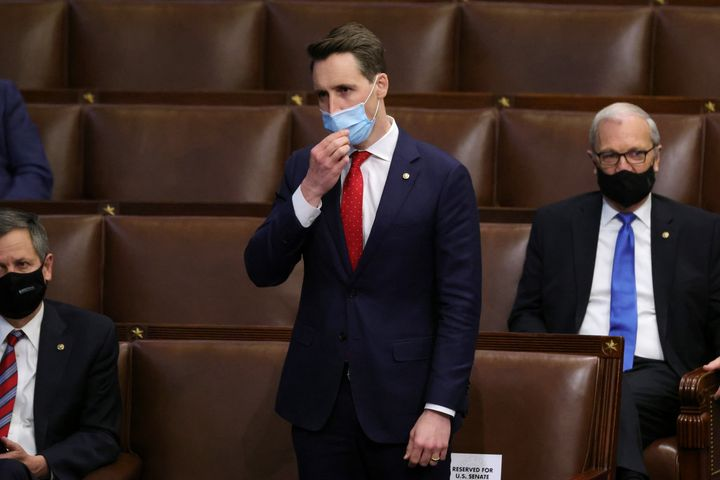 Sen. Josh Hawley (R-Mo.) in the House chamber on Jan. 6. Members returned to chamber after being evacuated when insurrectioni