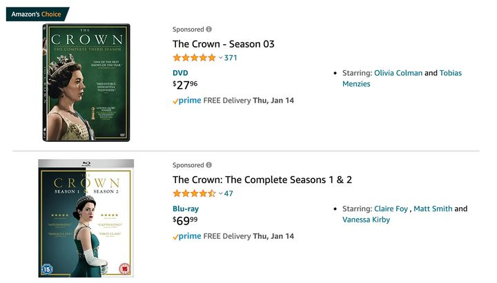 "You can buy DVDs of Netflix's ""The Crown"" on Amazon."