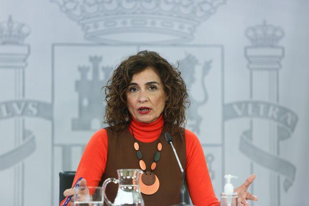 María Jesús Montero durante la rueda de prensa del Consejo de