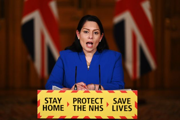 Home secretary Priti Patel during a media briefing in Downing