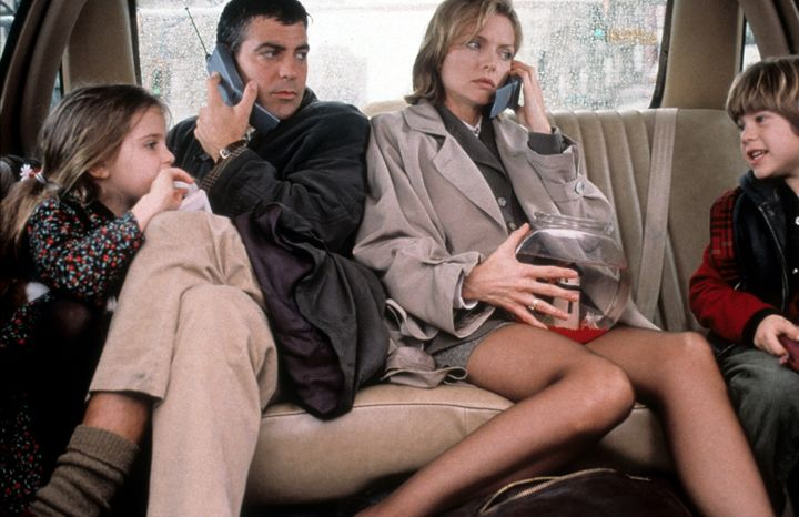 "Mae Whitman, George Clooney, Pfeiffer and Alex D. Linz in ""One Fine Day."""