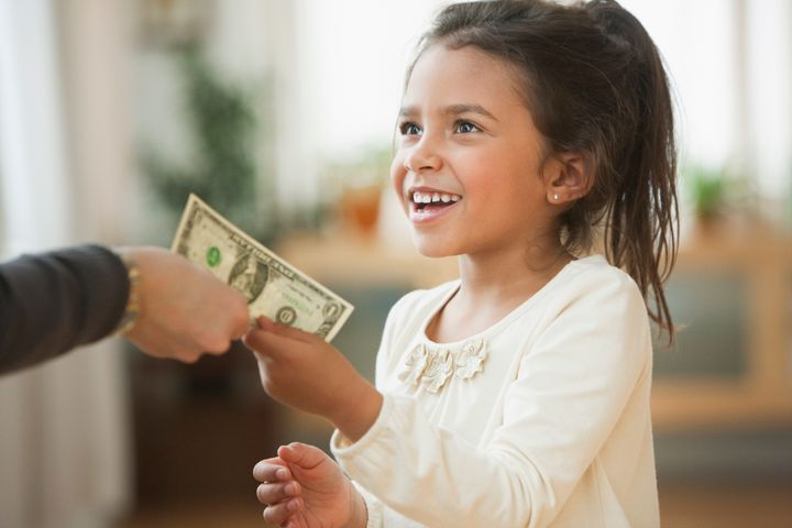 There are many opportunities for parents to model or talk about money management with their children.