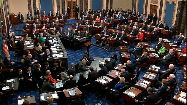 The Senate voting on Trump's first impeachment in February 2020. Senator Mitt Romney (R-Utah) cast the...