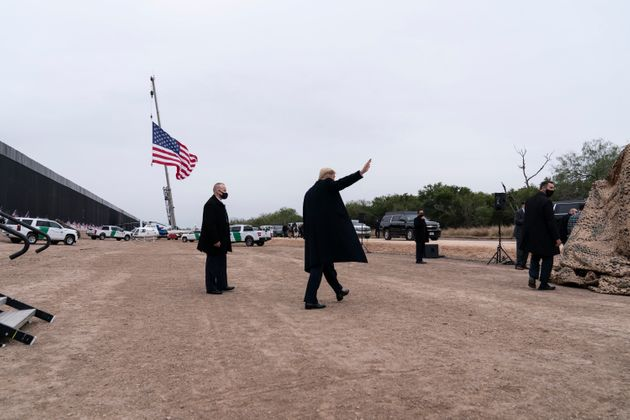 President Donald Trump departs after speaking near a section of the US-Mexico border wall Tuesday in...