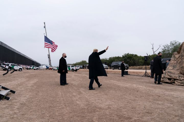 President Donald Trump departs after speaking near a section of the U.S.-Mexico border wall Tuesday in Alamo, Texas.