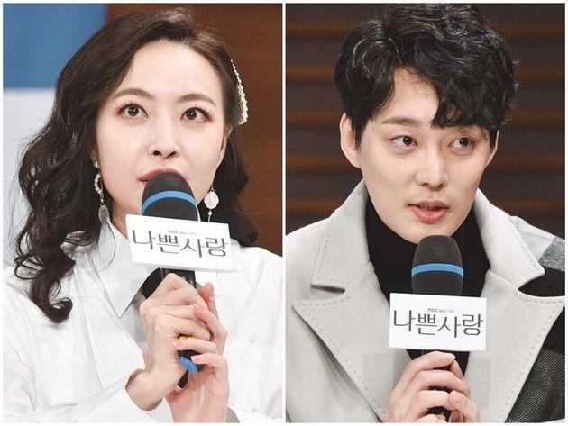 결혼한 배우 심은진과 전승빈이 2019년 MBC '나쁜 사랑' 제작발표회에 나선