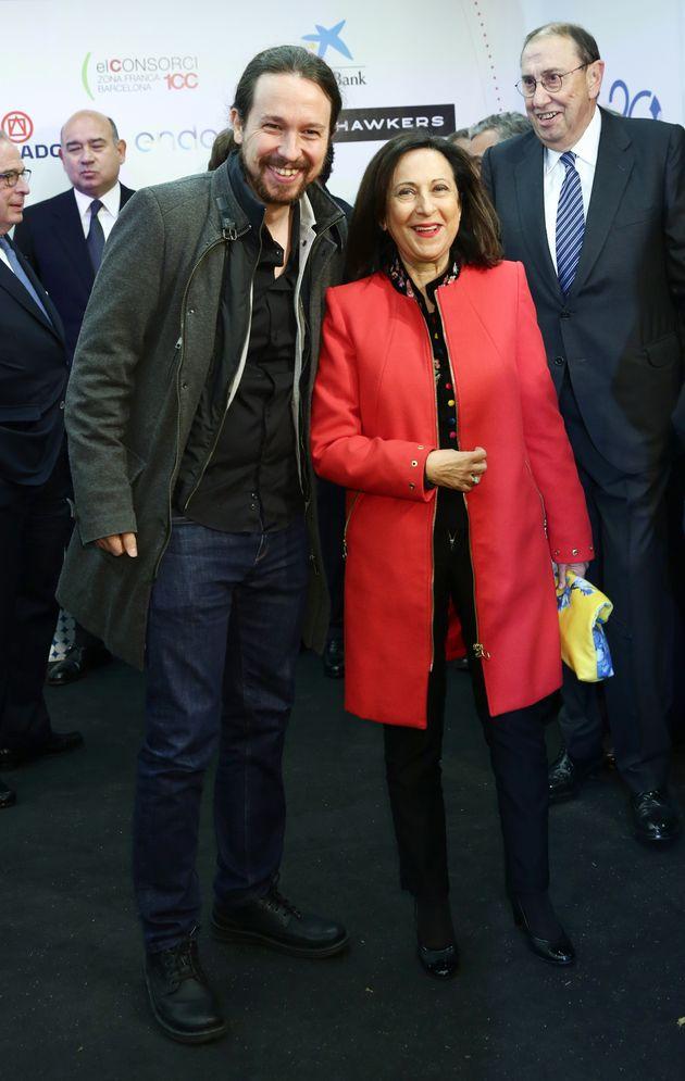 Pablo Iglesias y Margarita Robles, en noviembre de 2018, durante una entrega de premios de 'La Razón'....