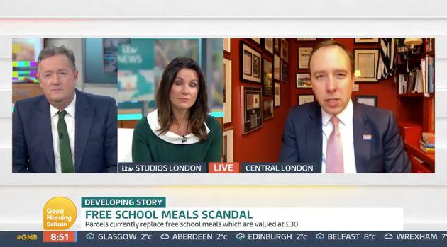 Piers Morgan, Susanna Reid and Matt Hancock on Good Morning