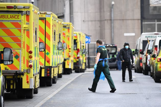 Ambulances at Whitechapel hospital in