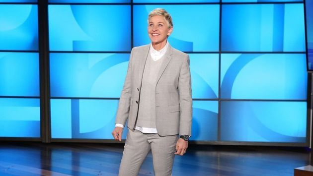 Ellen on the set of her talk show, which resumed production this week
