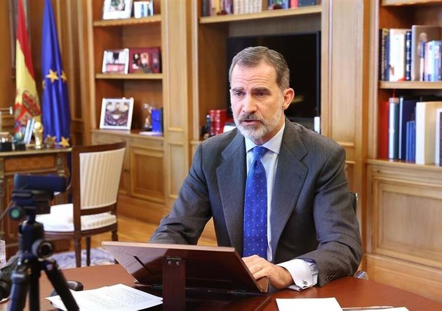 Felipe VI, durante su intervención de hoy desde La