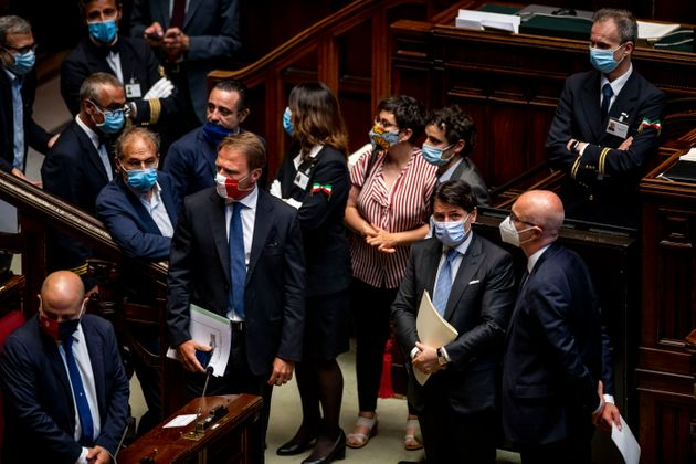 ROME, ITALY - JULY 01: Prime Minister Giuseppe Conte wearing a protective mask attends the weekly question...