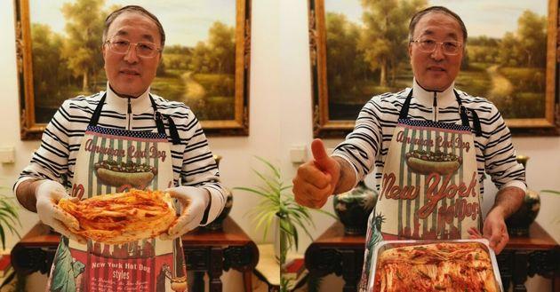 장쥔 중국 UN대사는 지난 3일 트위터에 손수 만든 김치를 사진 찍어