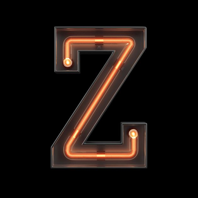 Neon Light Alphabet Z with clipping path. 3D