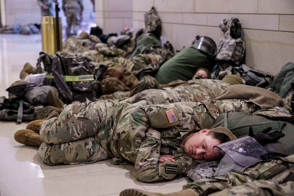 Striking Photos Show Hundreds Of National Guard Troops Sleeping Inside US Capitol
