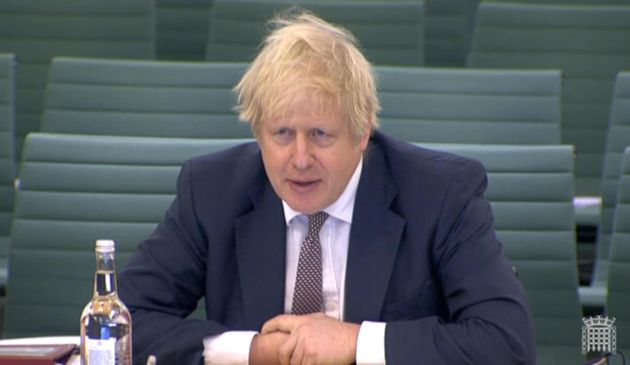 Prime minister Boris Johnson answering questions from MPs on the House of Commons Liaison Committee in...