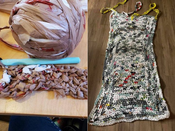 Waterloo, Ont. resident Kathy Kibble runs a Facebook group that crochets plastic bags into mats for people who sleep outdoors.