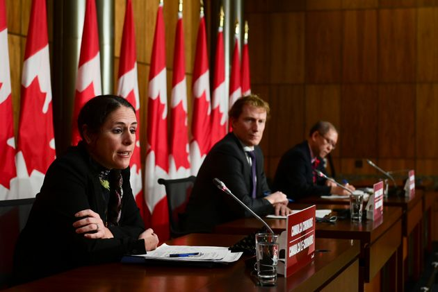 Valerie Gideon, Associate Deputy Minister of Indigenous Services Canada, left to right, Marc Miller,...