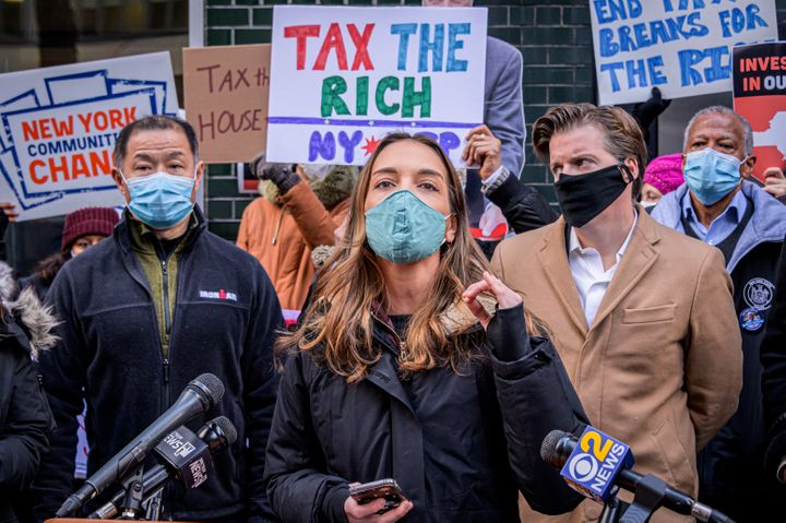 New York State Sen. Julia Salazar (D) speaks in support of taxing the rich on Jan. 5. Salazar, a democratic socialist who uns