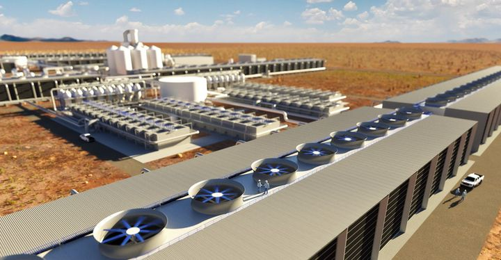 A rendering from the Canadian firm Carbon Engineering shows what one of its direct air capture plants might look like.