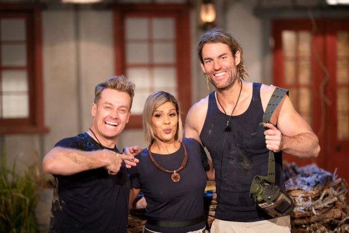 Grant Denyer, Pettifleur Berenger and Ash Williams on 'I'm A Celebrity... Get Me Out Of Here'