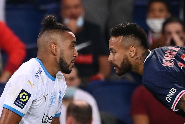 Le joueur du Parc-Saint-Germain, Neymar et le joueur marseillais Dimitri Payet règlent leurs comptes,...