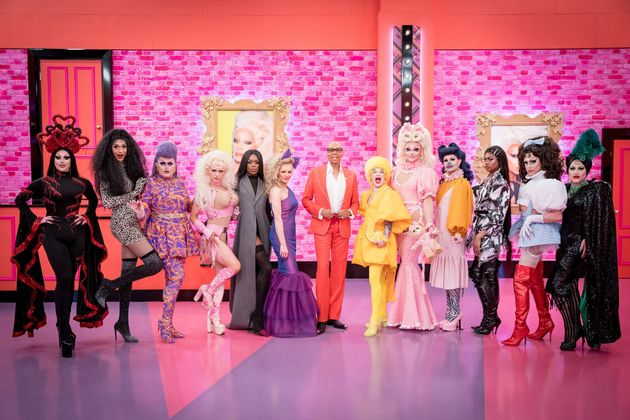 RuPaul (centre) with the queens of season