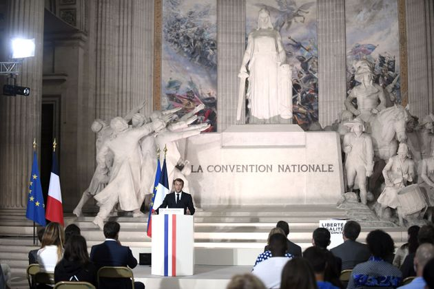 Emmanuel Macron lors de son discours célébrant les 150 ans de la IIIe République...