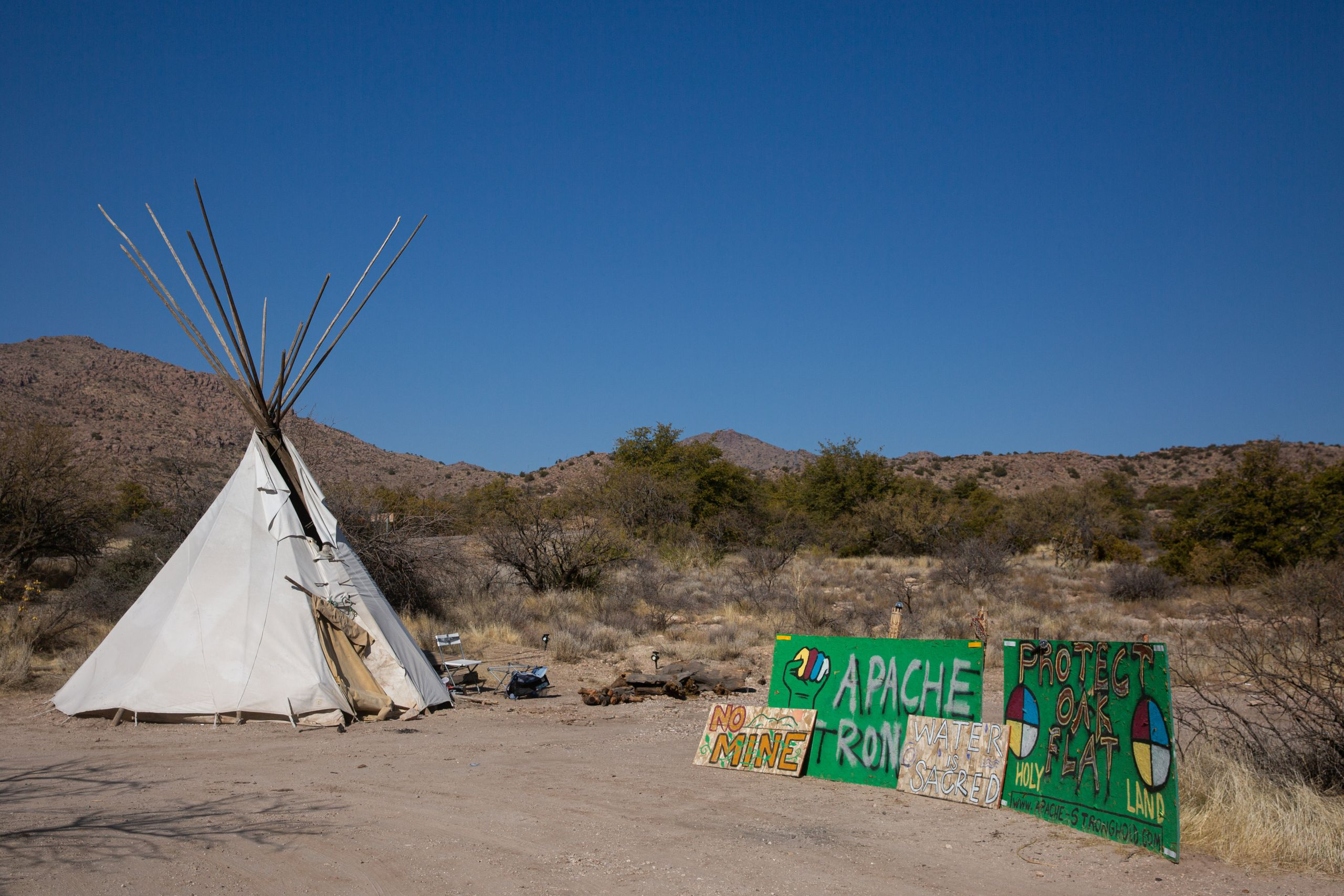 Nosie's camp at Oak Flat on Jan. 9. Later in the day, he and fellow Apache Stronghold members moved the camp deeper int