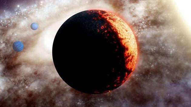 Vue d'artiste de l'exoplanète TOI-561b, un monde aussi ancien